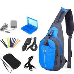 YB-OSANA 7 in 1 Travel Backpack Crossbody Bag + 3DS XL AC Ad