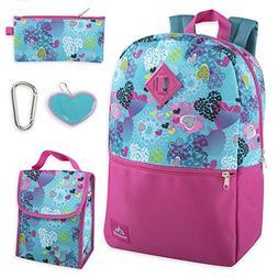 Girl's 5 in 1 Full Size Backpack Set