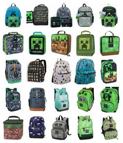 "Minecraft 17"" Kids Character School Backpack Lunch Box Or 16"