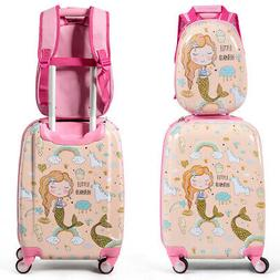 "18'' Carry On Suitcase Wheels & 12""Travel Backpack Mermaid 2"