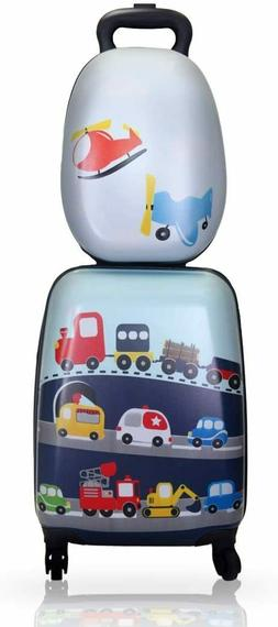 "18"" Kids Carry On Spinner Luggage School Bag Set Backpack Su"