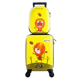 "18"" Kids Carry On Spinner Luggage School Bag Set Backpack Su"