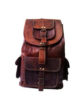 18 Leather Backpack Travel Rucksack Knapsack Daypack College