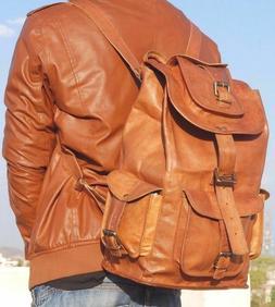 "20"" Soft Genuine Leather High Back Pack Rucksack Travel Bag"