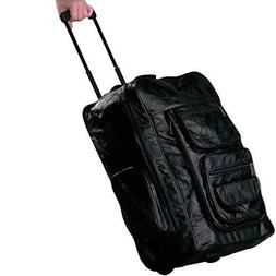 23 Inch Black Leather Carry On Backpack Trolley Rolling Lugg