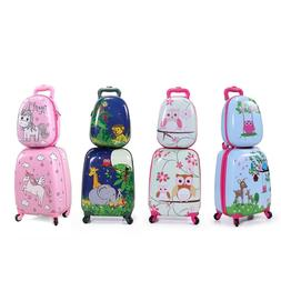 2Pc Carry On Luggage With Wheels Kids Rolling Suitcase Backp