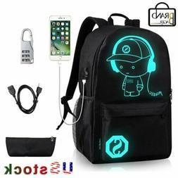 2PCS/Set Anime Luminous SchoolBag Anti-Theft Lock USB Chargi