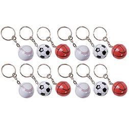 "3.5"" Sports Ball Keychain - 12 Pack Mini Backpack Hook for"