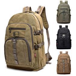 35L Men Vintage Canvas Backpack Rucksack Bag Camping Travel