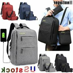 3Pcs/Set Men Women Boys Girls Backpack School Shoulder Bag B
