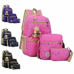 3Pcs Set Women Girls School Backpack Canvas Travel Bag Shoul