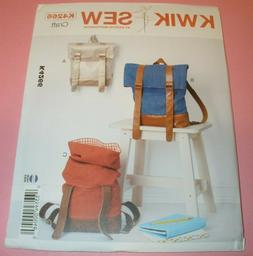 Kwik Sew 4266 Sewing Pattern Roll top Backpacks in 2 Sizes U