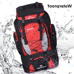 80L Waterproof  Hiking Camping Backpack Large Rucksack Bag O