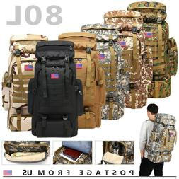80L Molle Outdoor Military Tactical Bag Camping Hiking Trekk