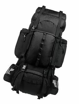 AmazonBasics Internal Frame Hiking Backpack with Rainfly Bla