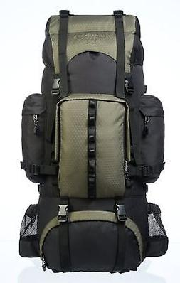 AmazonBasics Internal Frame Hiking Backpack with Rainfly Gre