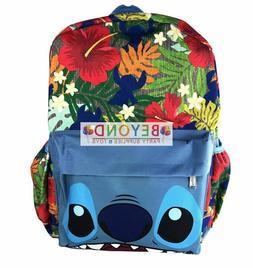 "Disney Lilo Stitch 16"" Large Canvas Backpack School Book Bag"