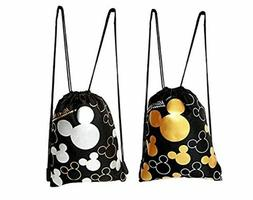 Disney Mickey Mouse Gold  and silver Drawstring Backpack