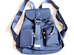 Leaper Backpack Blue Leather and Nylon 5 Compartments Medium