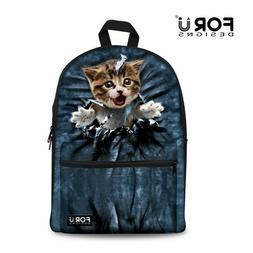 Womens Canvas Backpack Cat Print School Satchel Rucksack Boo