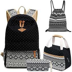 A Set Women Girls Canvas Cute Lightweight Backpacks School T
