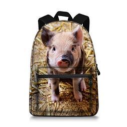 Animal Pig Bookbag Laptop Bag Daypack Backpack for Teen Girl
