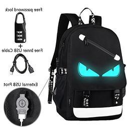 Anime Backpack Luminous Backpack Men School Bags Boys Girls