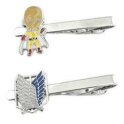 Anime Mangas - One Punch Man & Attack on Titan - Tiebar Tie