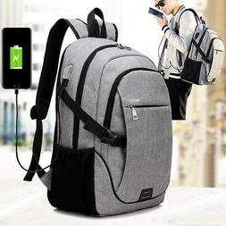 Anti-Theft Backpack USB Charging Port & Cable Rucksack Lapto