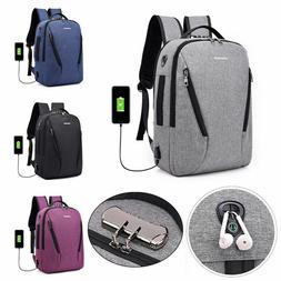 Anti Theft Backpack USB Charging Port Bag Laptop Notebook Bu