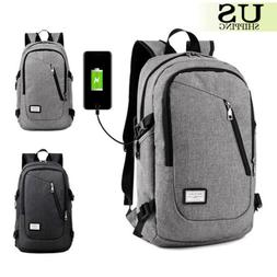 Anti-Theft Backpack USB Charging Port Rucksack Laptop School
