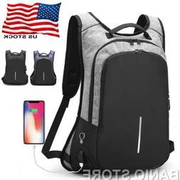 Anti-Theft Men Women Travel Backpack USB Charge Laptop Schoo