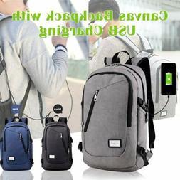 Anti-Theft Mens USB Charging Shoulder Backpack Laptop Notebo