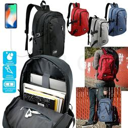 Anti-theft Mens Womens USB Charging Backpack Laptop Notebook