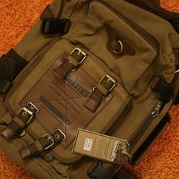 Kaukko Backpack Bag Canvas Khaki FH05 Satchel Outdoor Conver