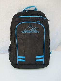 High Sierra Backpack Black Check Turquoise Padded Pocket Col