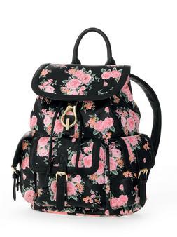 No Boundaries Backpack Purse Cargo Bag Floral Bookbag 5 Pock