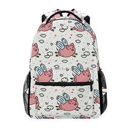 Backpack Travel Pink Fly Pig School Bookbags Shoulder Laptop