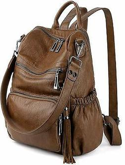 BACKPACK Women Purse PU Washed Leather Convertible Ladies Ru