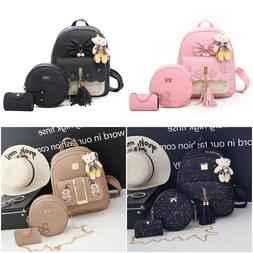 Backpacks 3pcs/set Leather Female PU Shoulder Bags Women Han