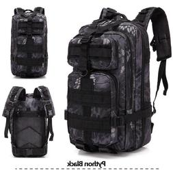 Black Tactical Military Backpack Oxford Sport Bag 30L For Ca