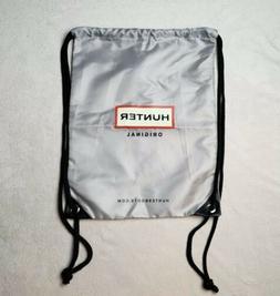 Hunter Boots Original Logo Bag | Silver Gray Black | Drawstr