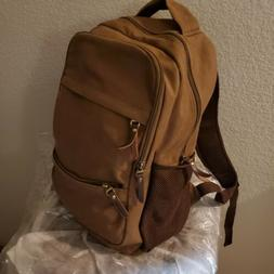 Brown heavy canvas backpack