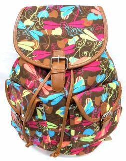 """16"""" Womens Canvas Backpack Leather Trim Padded Strap Brown W"""