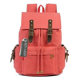 Canvas Backpack, P.KU.VDSL Vintage Canvas Leather Rucksack B