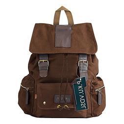 Canvas Backpack, P.KU.VDSL AUGUR SERIES Vintage Canvas Leath