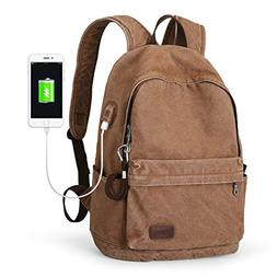 Muzee Canvas Backpack with USB Charging Port for Men Women,