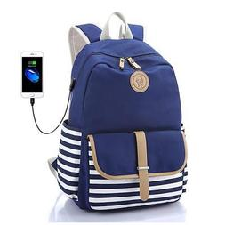 FLYMEI Canvas Laptop Bag Cute School Backpack College Bookba