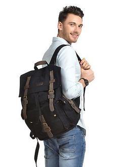 Kattee Men's Canvas Leather Hiking Travel Backpack, Black