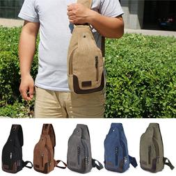 Canvas Military Hiking Messenger Travel Chest Pack Backpack